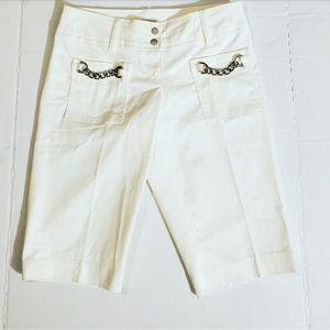 Michael Kors Womens White Bermuda Shorts w/Chains